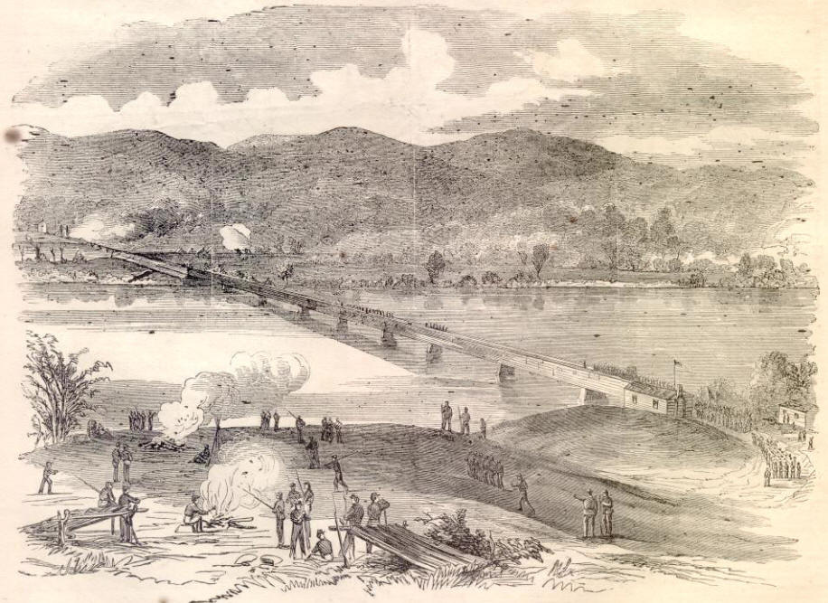The War In North Alabama. Rout Of A Rebel Force, Under General Ledbetter, Near Bridgeport. Sketched by Mr. H. Hubner