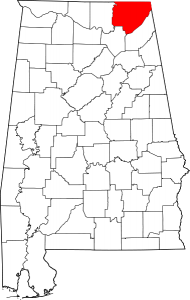 Map of Alabama Highlighting Jackson County