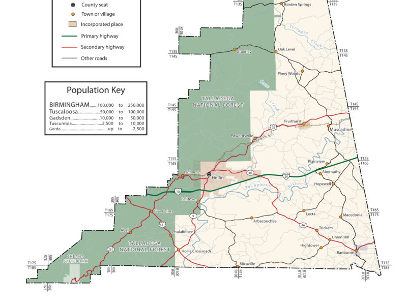 Cleburne County Alabama Map
