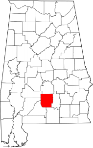 Map of Alabama highlighting Butler County