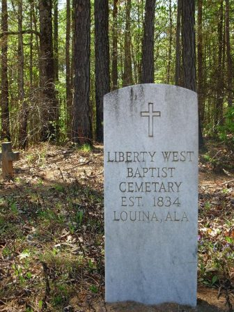 "The ""Liberty West Baptist Cemetery"" is one of the last remaining vestiges of Louina, Alabama."