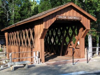 A photo of the Salem-Shotwell Covered Bridge in Lee County, Alabama. It was taken by M.L. Devall in October 2007.