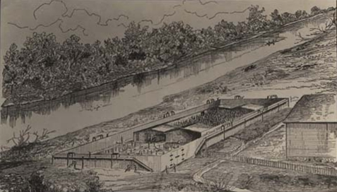 Cahaba Alabama Prison aka Castle Morgan, 1863-65. Drawn from memory by Jesse Hawes