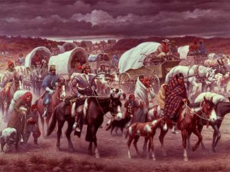"""This picture, The Trail of Tears, was painted by Robert Lindneux in 1942. It commemorates the suffering of the Cherokee people under forced removal. If any depictions of the """"Trail of Tears"""" were created at the time of the march, they have not survived."""