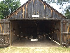 Blacksmith shop inside the Fort Mitchell stockade. Demonstrations are periodically held here.