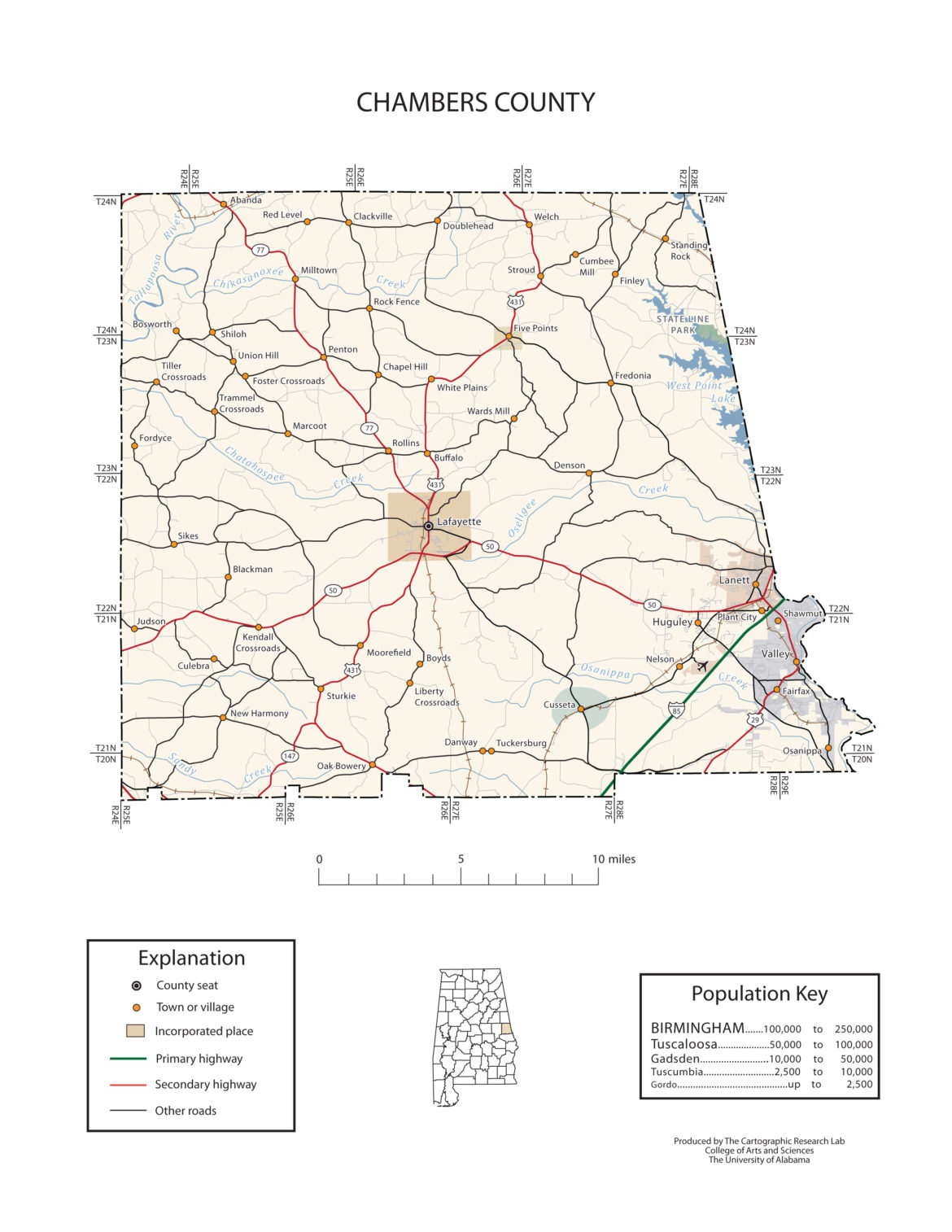 Chambers County Alabama Map