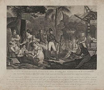Parisian engraving from 1819 of the building of the Aigleville settlement, directed by General Lefèbvre-Desnoëttes. Note the erroneous inclusion of palm trees, which are not found in central Alabama.