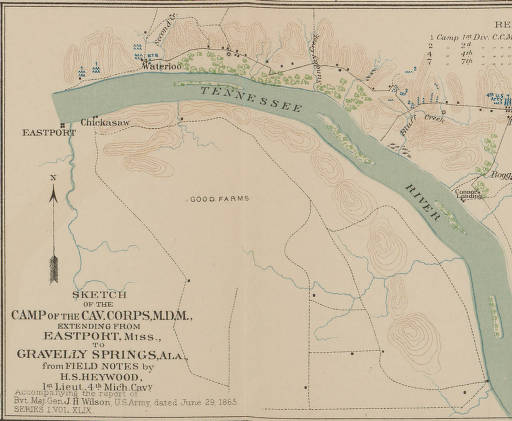 Sketch of the Camp of the Cav. Corps, M.D.M. extending from Eastport Miss. to Gravelly Springs, Alabama
