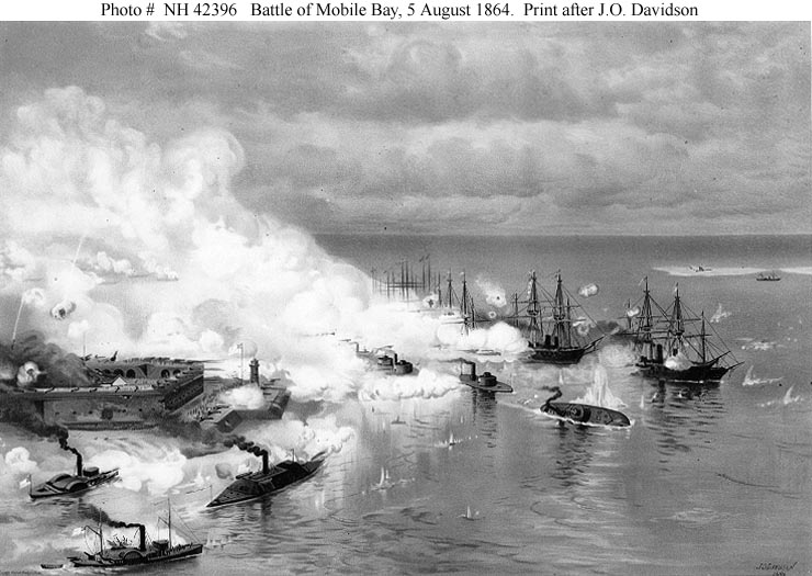 Photo # NH 42396 Battle of Mobile Bay , 5 August 1864 . Print after J . O . Davidson