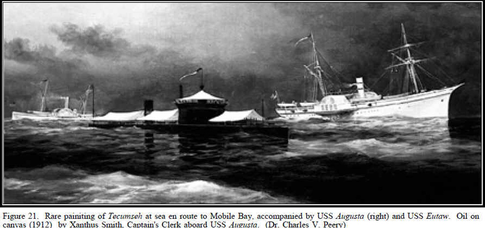 Rare painiting of Tecumseh at sea en route to Mobile Bay, accompanied by Augusta (right) and Eutaw. Oil on canvas (1912) by Xanthus Smith, Captain's Clerk aboard Augusta