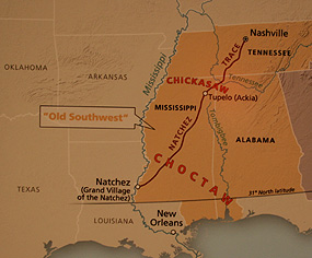 Before the United States expanded beyond the Mississippi River, the land that would become Mississippi, Alabama, and Tennessee was known as the Southwest. This map shows the Old Natchez Trace passing through Choctaw and Chickasaw lands.