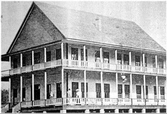 """Shelby Springs Hotel Site of """"General Hospital, Shelby Springs"""" during the Civil War Photo made before it was destroyed by fire on May 15, 1906"""