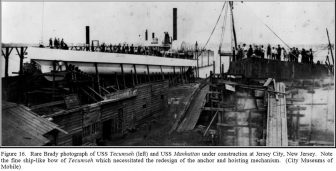 USS Tecumseh under construction at Jersey City, New Jersey