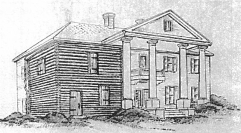 """Illustration of the Andrew Ross portion of Cherokee Plantation. Source: """"The Cherokee Plantation, Fort Payne, Alabama"""", by Royce Kershaw, Sr., 1970. The logs are still in the walls of the existing home."""
