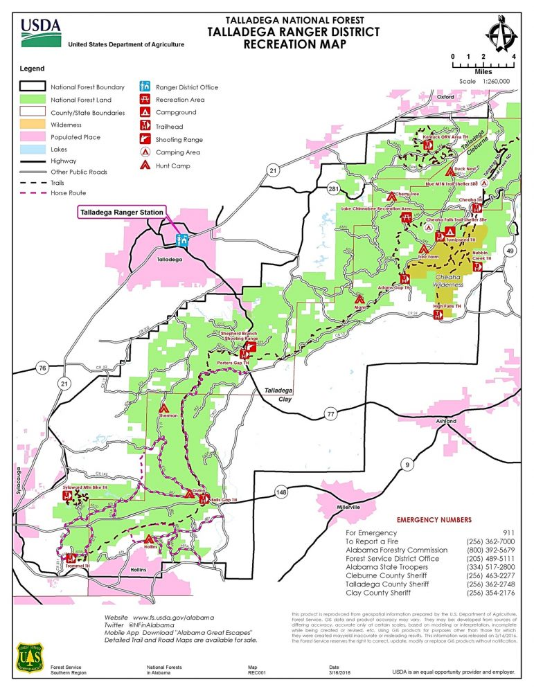 Talladega National Forest | Talladega Ranger District | Recreation Map