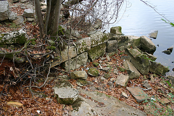All that remains of what was once Tuscumbia Landing are some limestone pilings that once held up the pier.