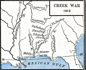 The Creek War also known as the Red Stick War was fought in Central Alabama and Southern Georgia between 1813 and 1814
