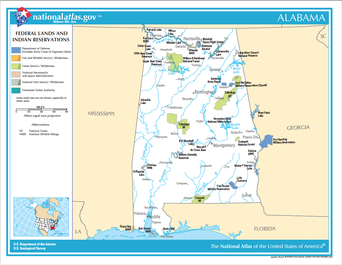 Federal Lands and Indian Reservations in Alabama Map | Digital ...