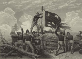 William Jasper raises the Moultrie Flag on a sponge staff during the Battle of Sullivan's Island, rallying the troops to win the fight