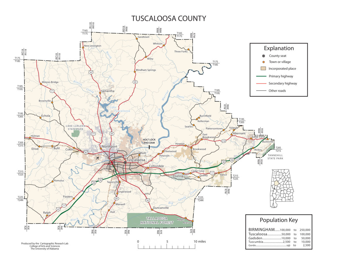 Tuscaloosa County Alabama Map