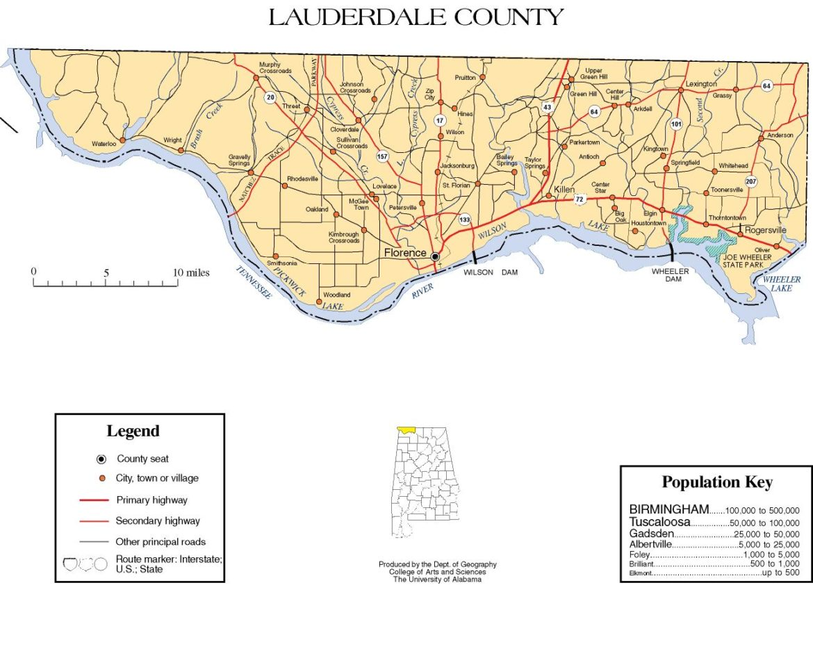 Lauderdale County Alabama Map