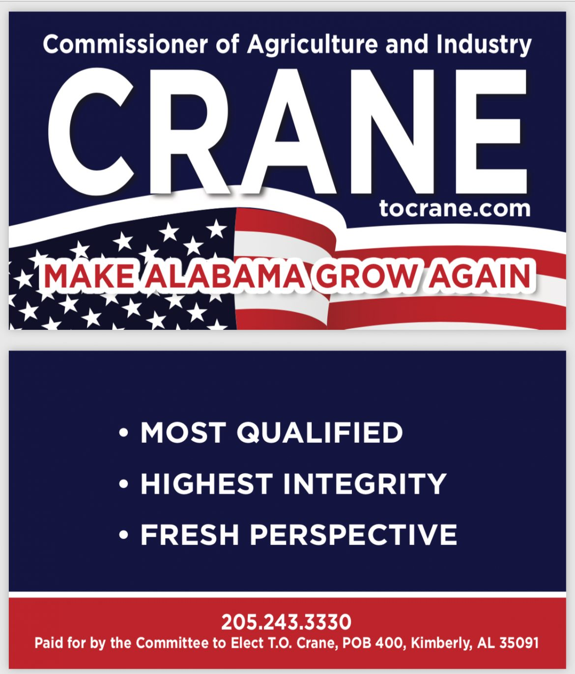 T.O. Crane for Commissioner of Agriculture and Business