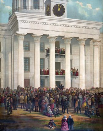 """The Starting Point of the Great War Between the States."" James Massalon based this 1878 painting of the inauguration of Jefferson Davis on a photograph taken that day and owned by William C. Howell of Prattville. The photo is now held by the Alabama Department of Archives and History. (Library of Congress)"