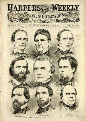 "Alabama passed its Ordinance of Secession on January 11, 1861, joining South Carolina and Mississippi who had seceded days earlier. Harper's Weekly carried the story inn its February 9, 1861 edition which featured a front page sketch of ""The Seceding Alabama Delegation in Congress"" which was make from a photograph by Mathew Brady."