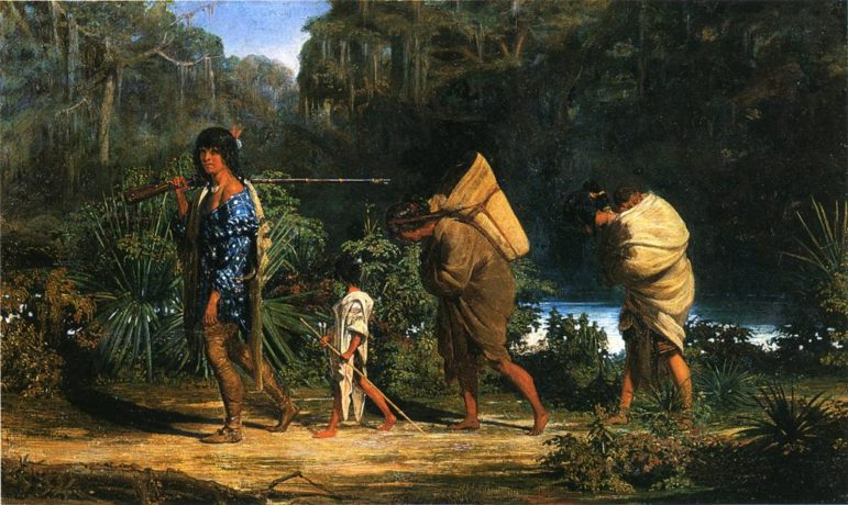 Louisiana_Indians_Walking_Along_a_Bayou