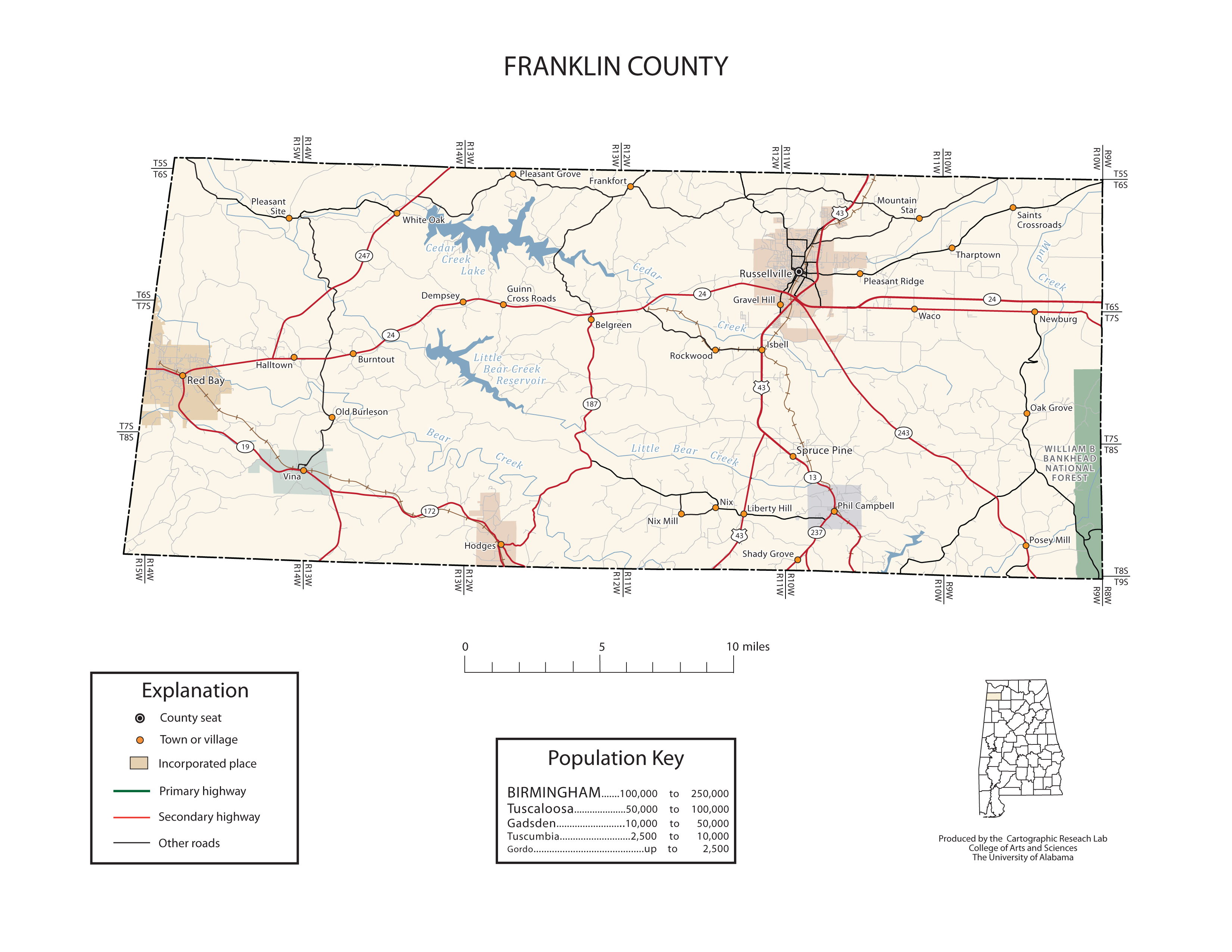 Franklin County Alabama Map