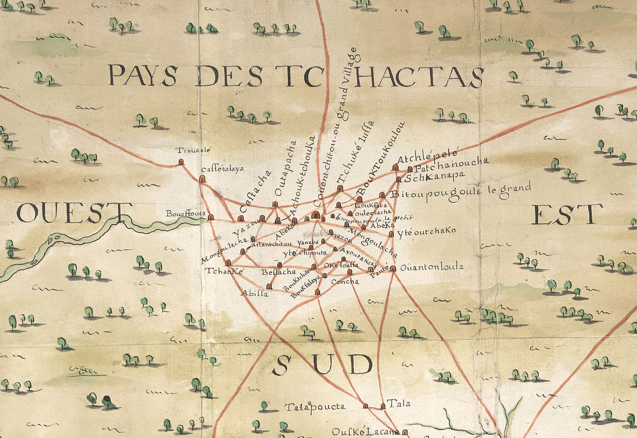 Detail of Baron de Crenay's 1733 map of French colonial Louisiana, showing Indian trails (in red) in the area that would later become southwestern Alabama (courtesy of the Centre Historique des Archives Nationales, Paris).