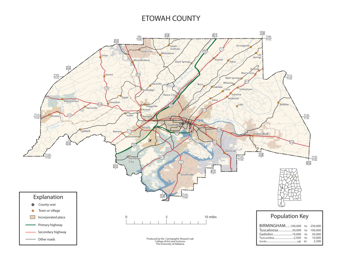 Etowah County Alabama Map
