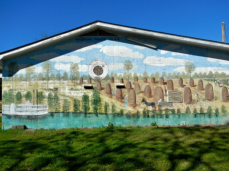 A mural in Haleburg, Alabama depicts the town's agricultural roots.
