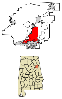 Location of Anniston in Calhoun County, Alabama