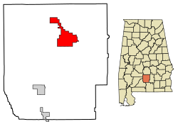 Location of Greenville in Butler County, Alabama.