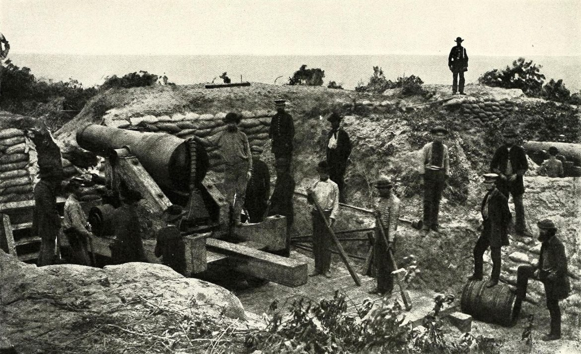 Confederate Soldiers of the Perote Guards Posing With an Artillery Piece in the Perote Sand Batteries Near Mobile, Alabama (1861)
