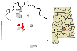 Location of Mosses in Lowndes County, Alabama.