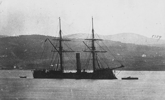 View of the Confederate States Navy Ironclad CSS Stonewall Anchored Off of Ferrol, Spain, During the American Civil War (1865)