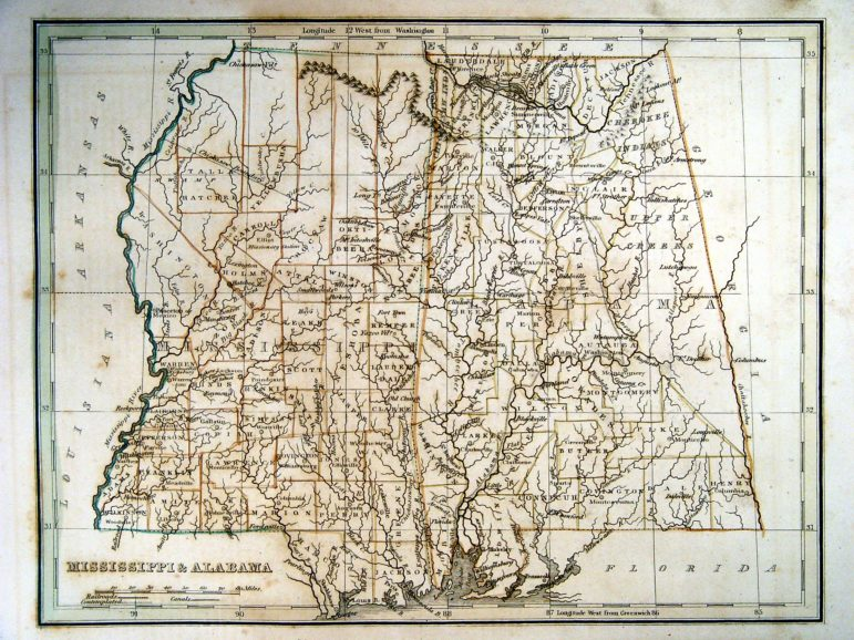 States of Alabama and Mississippi Map, Bradford Map of 1835 Alabama and Mississippi (4.4 Mb) showing Cherokee and Creek Nations before the secession of those territories; submitted by Dean Williams