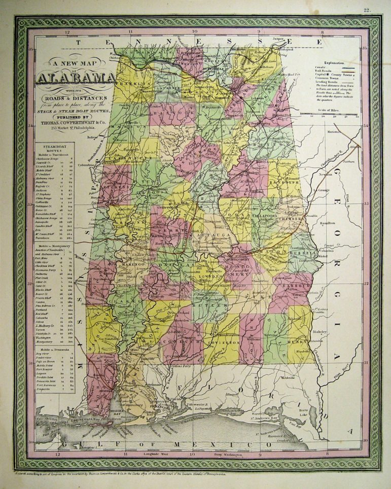 "State of Alabama Map, 1850 (3.6 Mb) from an atlas published by Thomas, Cowperthwait & Co., including steamboat routes, railroads, and ""roads and distances"", submitted by Dean Williams"