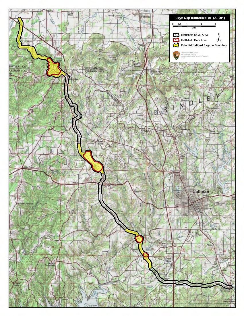 Map of Day's Gap Battlefield core and study areas by the American Battlefield Protection Program.