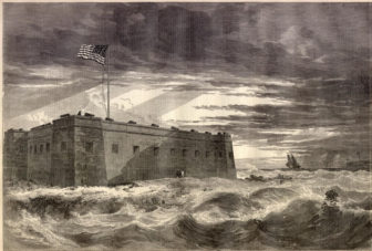 Fort Pickens, Pensacola Harbor, Florida, looking seaward. Fort McRae in the distance. Fom a sketch by mrs. lieutenant Gilman, just arrived from Pensacola.