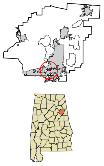 Location of Hobson City in Calhoun County, Alabama
