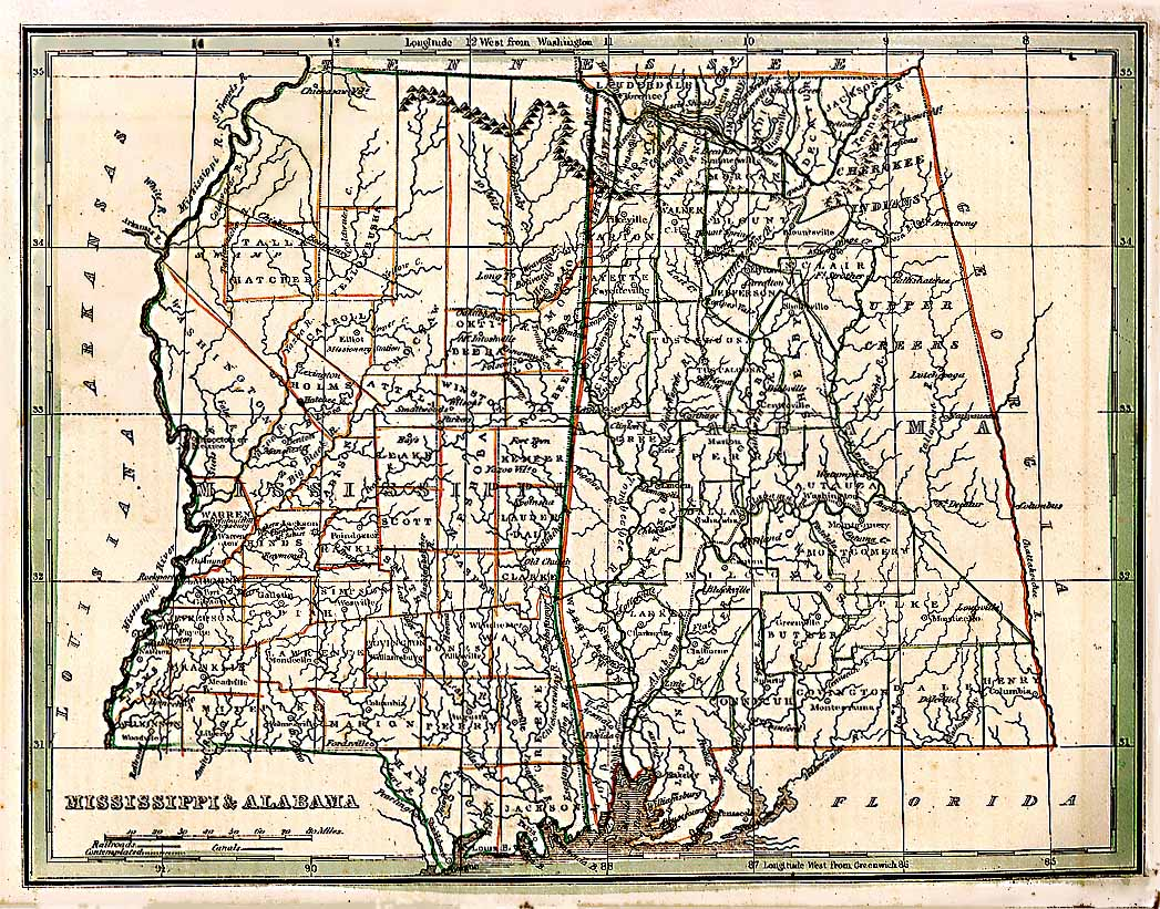 map of mississippi and alabama with cities Map 1835 Alabama And Mississippi Digital Alabama map of mississippi and alabama with cities