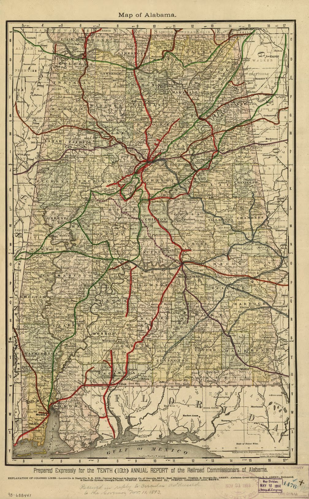 Map 1888 Alabama - Shows drainage, township and county boundaries, cities and towns, and the railroad network in colored lines