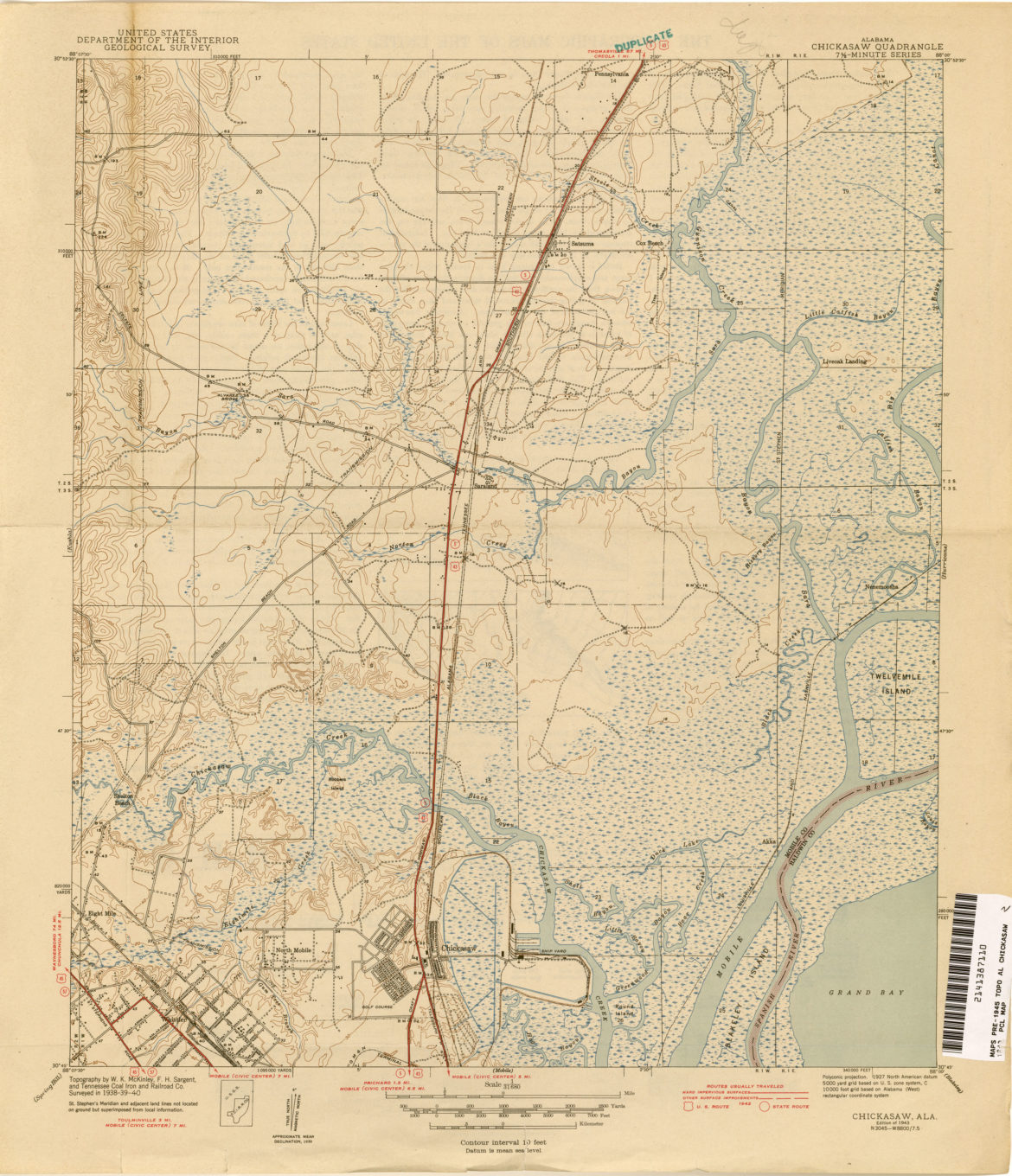 Map: 1943 Chickasaw Alabama Topo