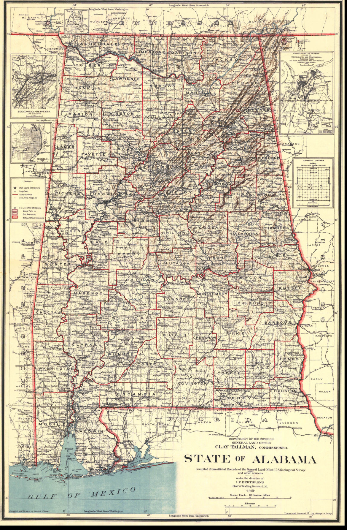 Map Alabama 1915