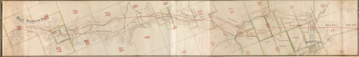 Map of the Alabama and Tennessee River Railroad between Blue Mountain Station and Jacksonville, Calhoun County Alabama