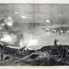 Contemporary Newspaper view of the Union fleet passing Port Hudson published by Harper's Weekly Newspaper April 18, 1863.