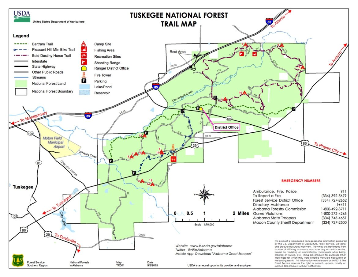 Tuskegee National Forest Trail Map